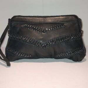 Linea Pelle Leather Clutch w/ Chain Detail